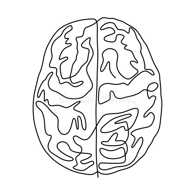 Continuous one line drawing brain anatomy medical theme. Isolated on white background vector illustration minimalism design royalty free illustration