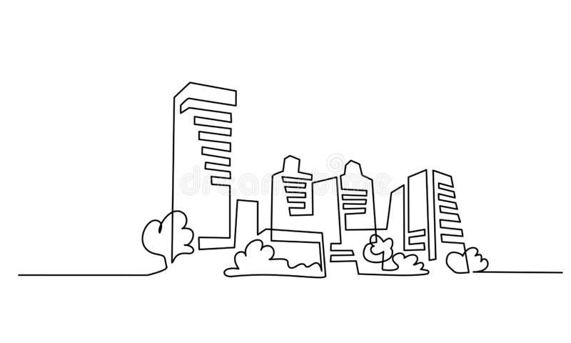 Building Cityscape One Line drawing Art Silhouette. Continuous one line drawing. Building Cityscape Line Art Silhouette. Vector illustration royalty free illustration