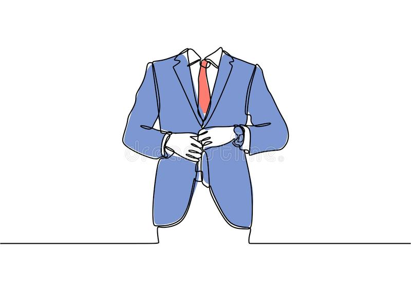 Continuous one line drawing of business uniform. Suit, illustration, person, isolated, interview, presenter, man, success, people, work, meeting, human stock illustration