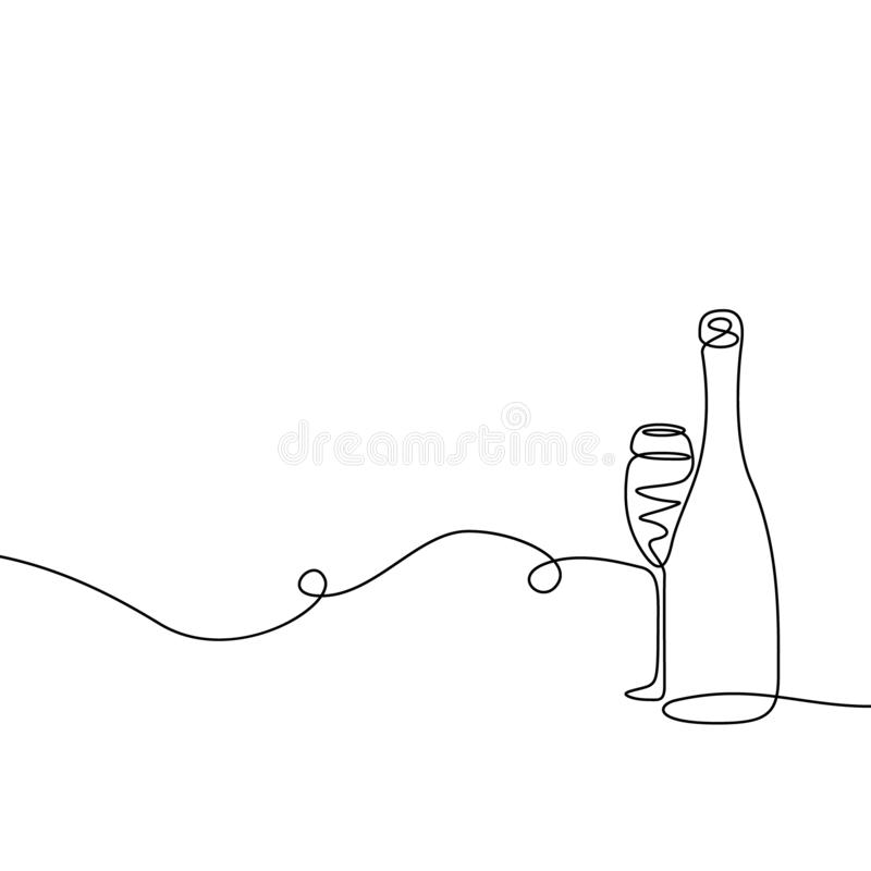 Continuous one line drawing Champagne with a glass. royalty free illustration