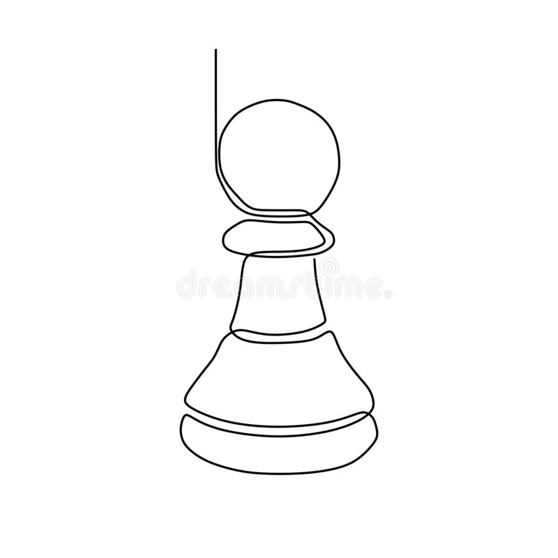 Continuous one line drawing of chess pieces minimalist design isolated on white background. Group of players tactic concept eps royalty free illustration