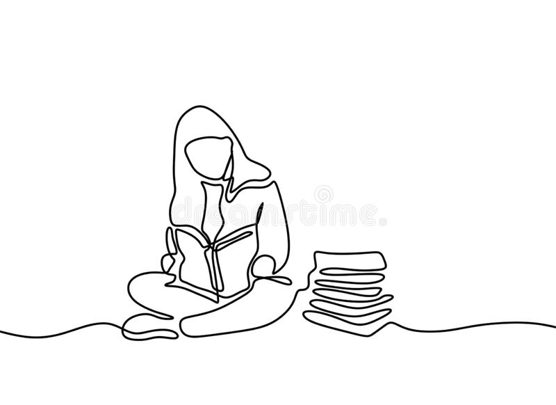 Continuous one line drawing children reading book. Kids read books with minimalism style on white background back to school theme. Design, lifestyle, open stock illustration