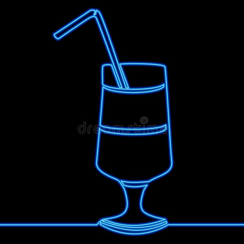 Continuous one line drawing cocktail neon concept. Continuous one single line drawing cocktail Glass icon neon glow vector illustration concept royalty free illustration