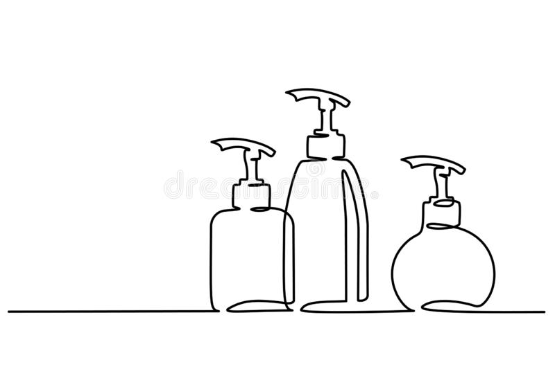 Cosmetic shampoo bottles Continuous one line draw. Continuous one line drawing. Cosmetic shampoo bottles. Vector illustration stock illustration