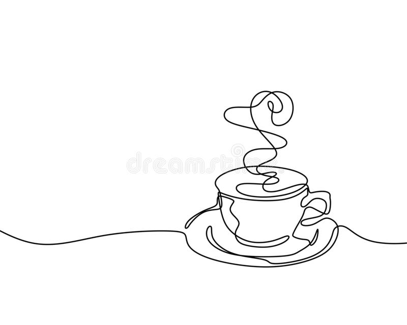 Continuous one line drawing of a cup of coffee minimalist design minimalism style i. Solated on white background, vector, sketch, illustration, graphic, outline stock illustration