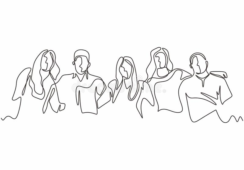 Continuous one line drawing of diversity concept of people with minimalism hand drawn. Vector man and woman in the group of five stock illustration