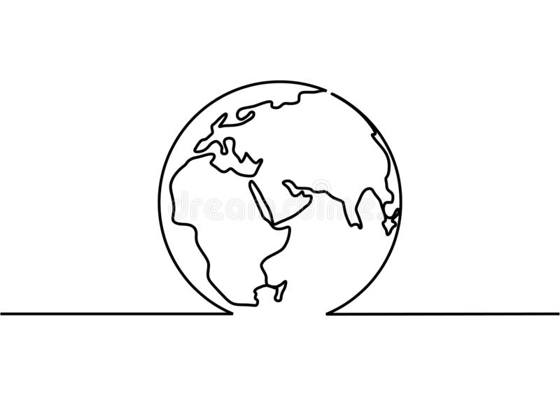 Continuous one line drawing of earth globe minimalism design vector illustration stock illustration