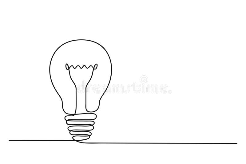 Continuous one line drawing of electric light bulb. Concept of idea emergence. Vector. Continuous one line drawing of electric light bulb. Concept of idea royalty free illustration