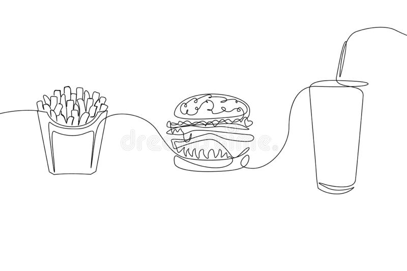 Continuous one line drawing fastfood French fries, hamburger and a glass of soda stock illustration