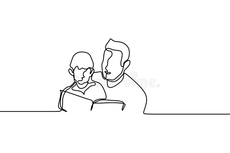 Continuous one line drawing of father and his kid read book royalty free illustration