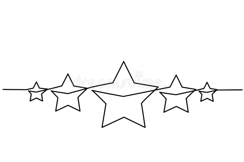Five stars customer product rating review icon. Continuous one line drawing. Five stars customer product rating review icon. Vector illustration royalty free illustration