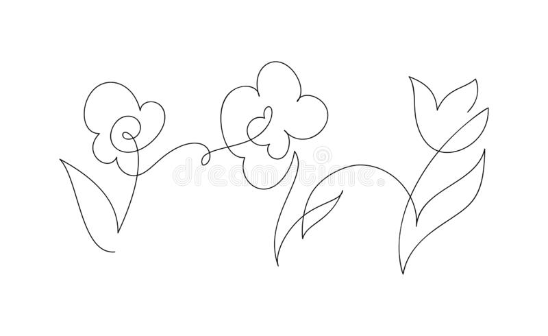 Continuous one line drawing flowers. Black and white vector illustration. Concept for logo card, banner, poster, flyer stock illustration