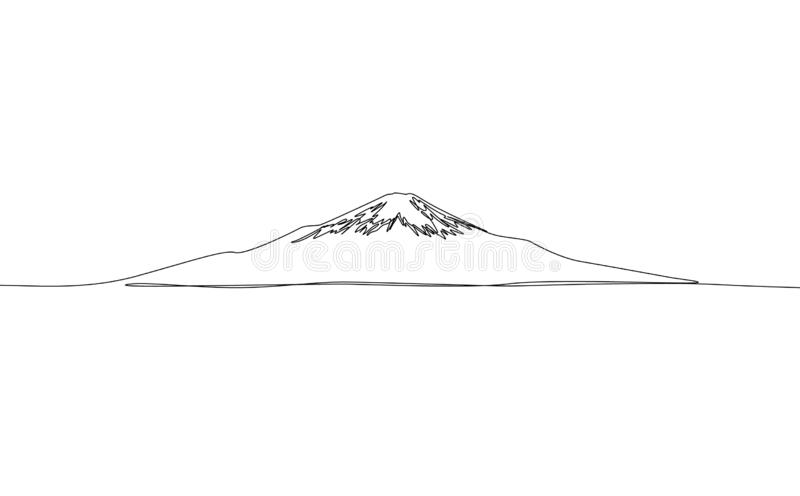 Continuous one line drawing Fuji, vector. Japan vector illustration