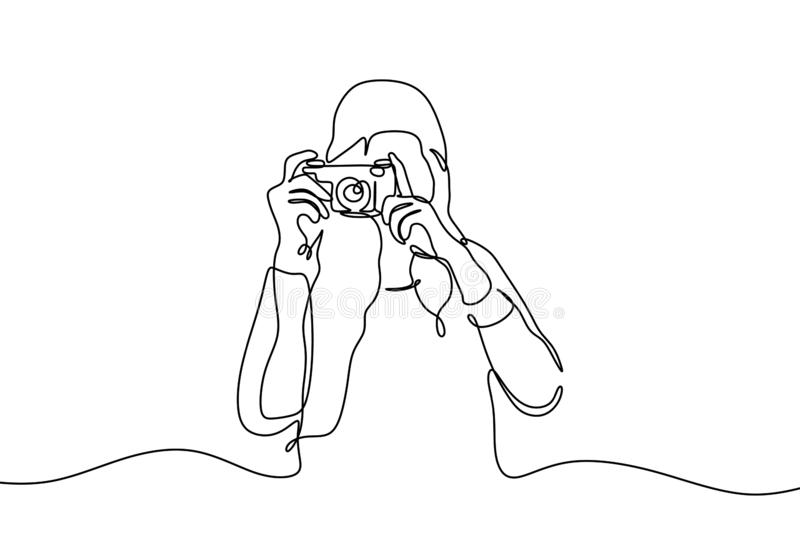 Continuous one line drawing of girl taking picture with her camera. Photographer concept. Young lady vector illustration vector illustration