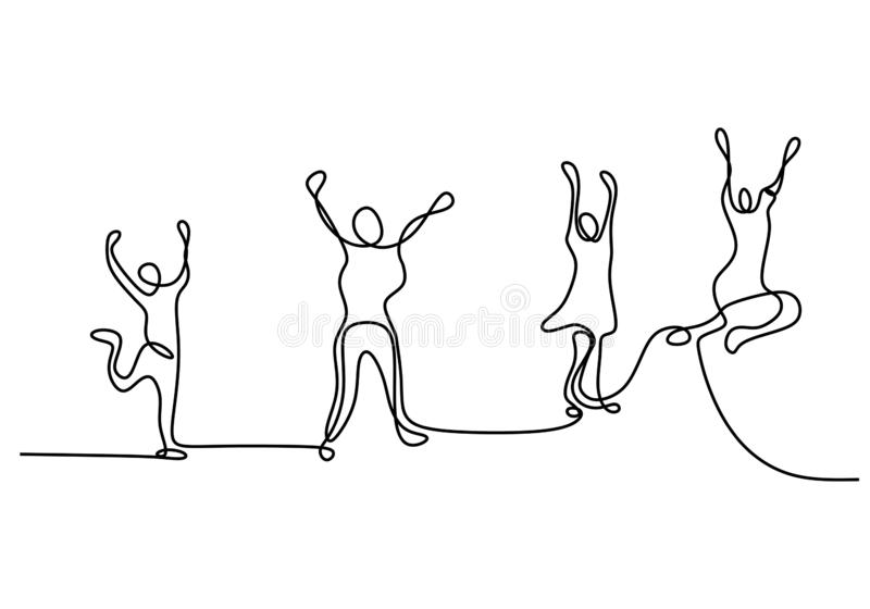 Continuous one line drawing of group four people jump happy moment women and men isolated on white background vector illustration
