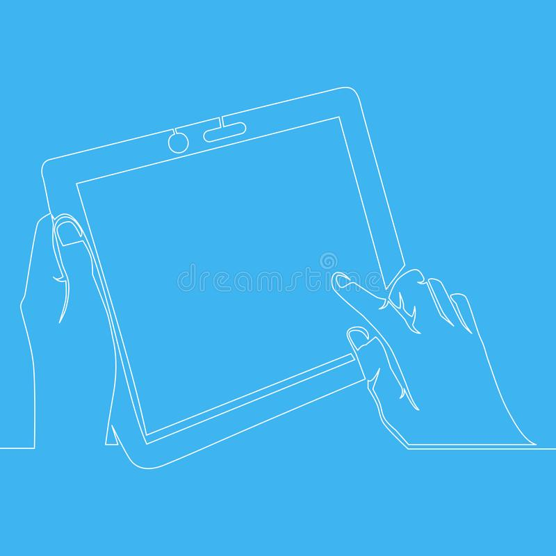 Continuous one line drawing hand holding tablet vector illustration
