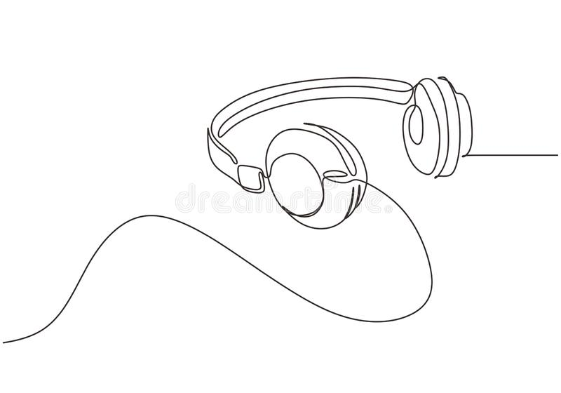 Continuous one line drawing of headphones vector illustration minimalism music symbol vector illustration