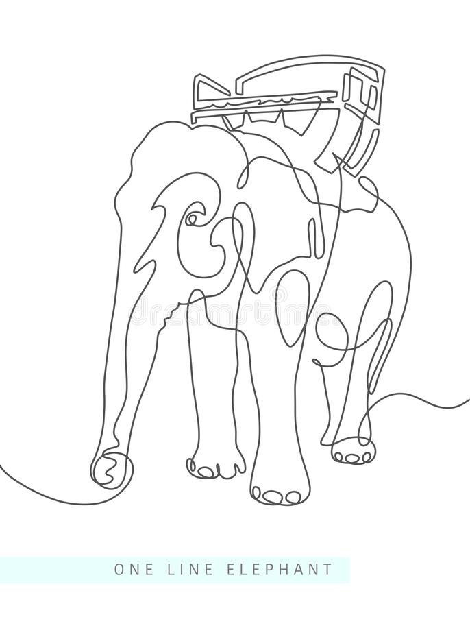 Minimalist Elephant Drawing: Elephant Continuous One Line Drawings Set Stock Vector