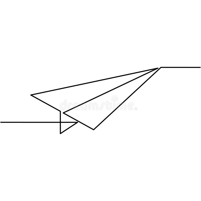 Continuous one line drawing of isolated vector object paper airplane is flying stock illustration