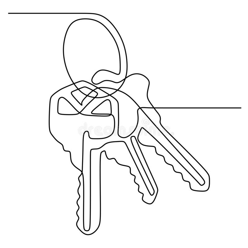 Continuous one line drawing of keys sign object minimalism design on white background. Home, icon, illustration, vector, business, concept, contour, elements vector illustration