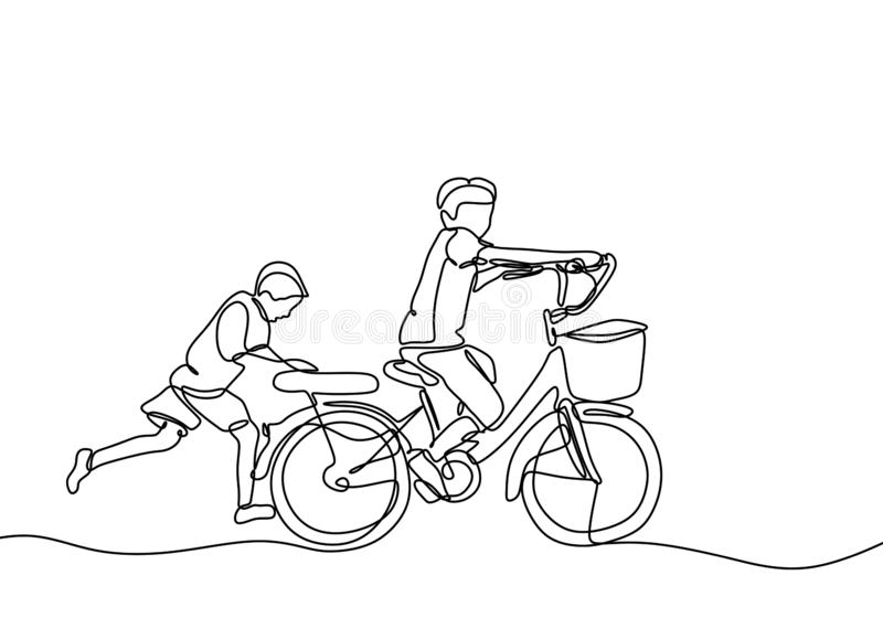 Continuous one line drawing of kids playing bicycle with friend. Friendship and childhood theme. Act of kindness of young boy help. To push the bike, happy royalty free illustration