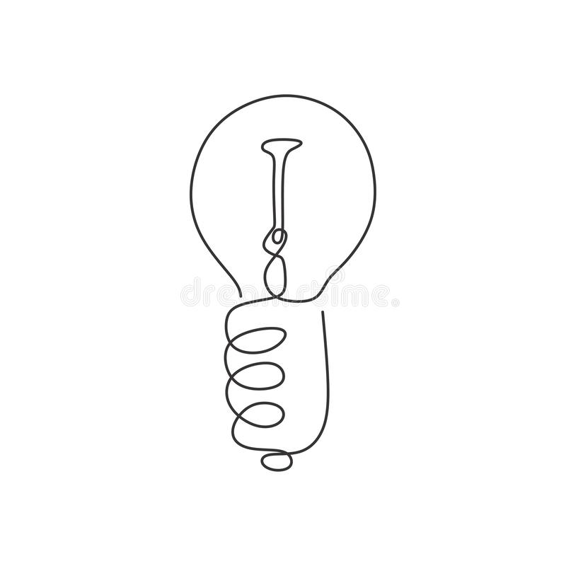 Continuous one line drawing light bulb symbol idea and creativity isolated on white background minimalism design. Concept, illustration, creative, outline stock photo