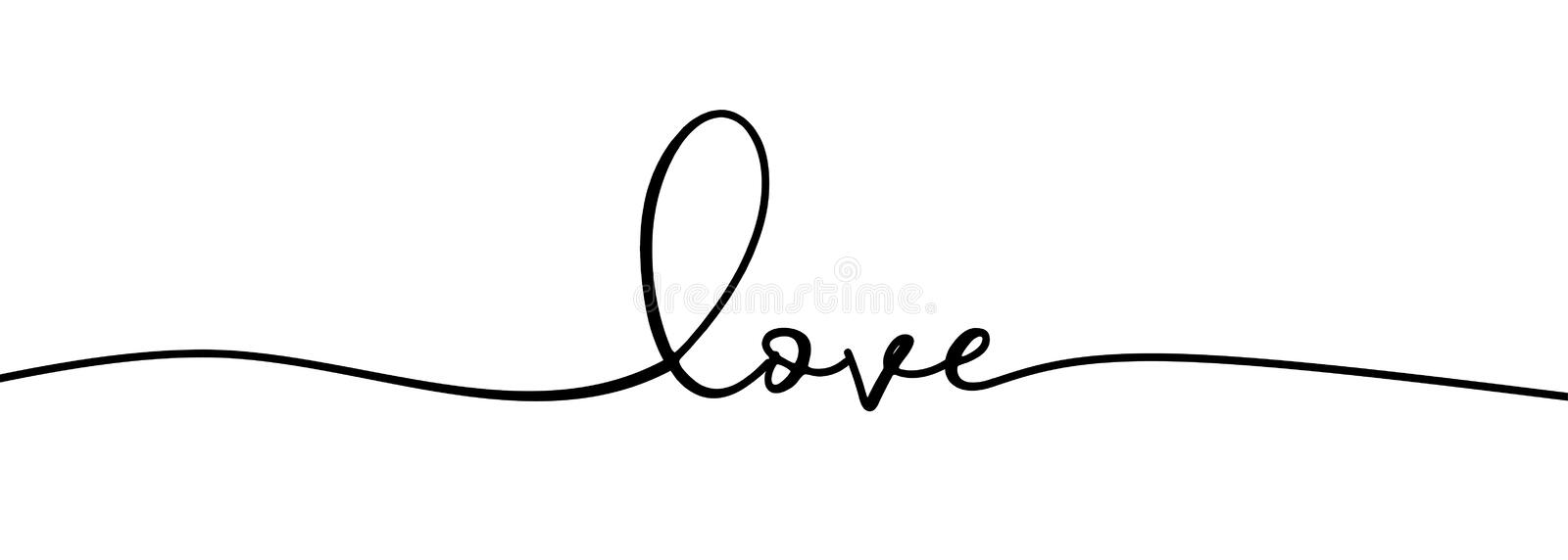 Continuous one line drawing of love typography lettering script font typographic lineart design. Minimalism concept of romantic. Card, banner, and poster sign stock illustration