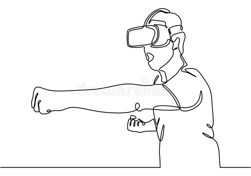 Continuous one line drawing of man in glasses device virtual reality, he fist his arm maybe playing game royalty free illustration