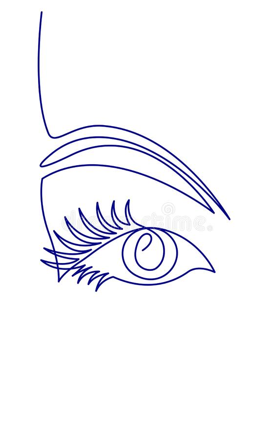 Free Continuous One Line Drawing Of Beautiful Woman S Eye. Black And White Isolated Outline Vector Illustration. Stock Photos - 175452093