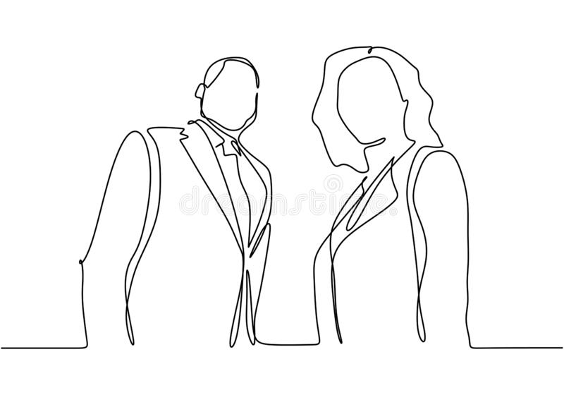 Continuous one line drawing of portrait of businessman and businesswoman standing . Illustration of boss or CEO company and stock illustration