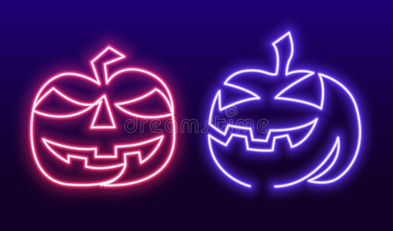 Continuous one Line Drawing of pumpkin hand-drawn picture silhouette. Halloween neon sign, bright signboard, light stock illustration
