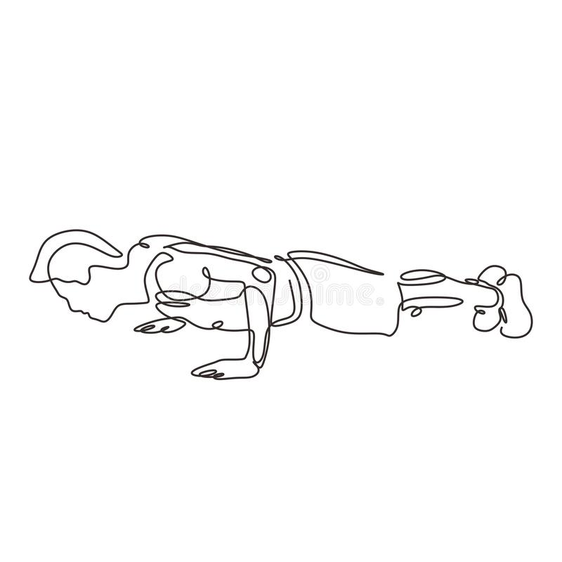 Continuous one line drawing of push up person. Man doing exercise at gym. Vector illustration minimalism sport theme design vector illustration