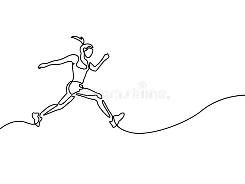 Continuous line drawing running woman , runner sport theme stock illustration