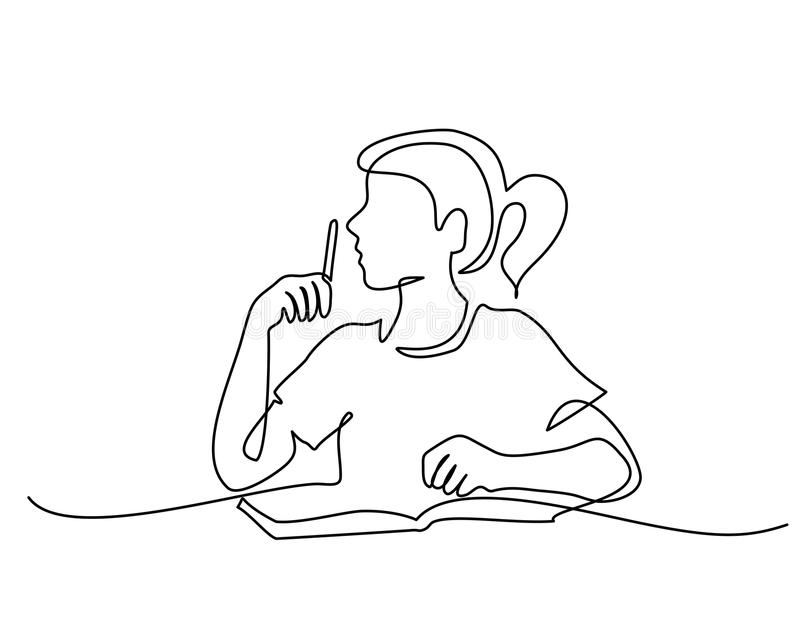 Schoolgirl sitting and writing with pencil on book. Continuous one line drawing. Schoolgirl sitting and writing with pencil on copybook. Vector illustration vector illustration