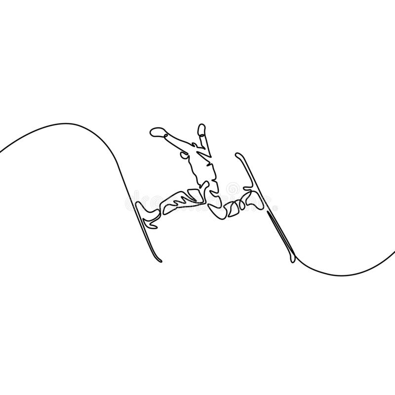 Continuous one line drawing Skier jump, vector stock illustration