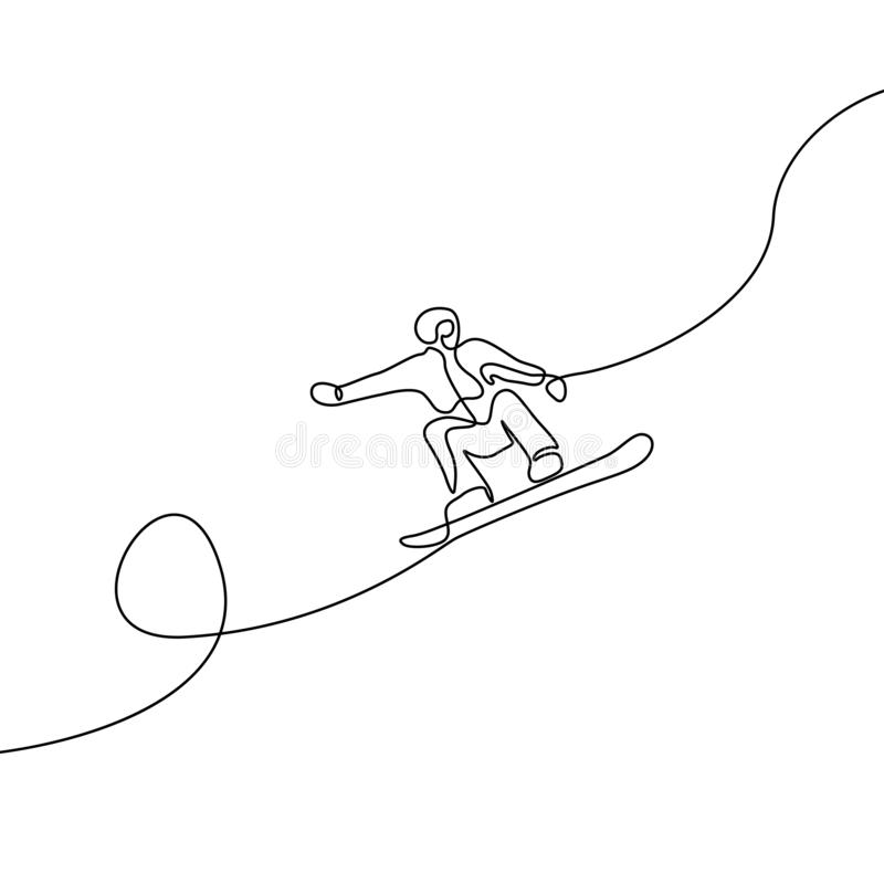 Continuous one line drawing Snowboarder jump vector stock illustration