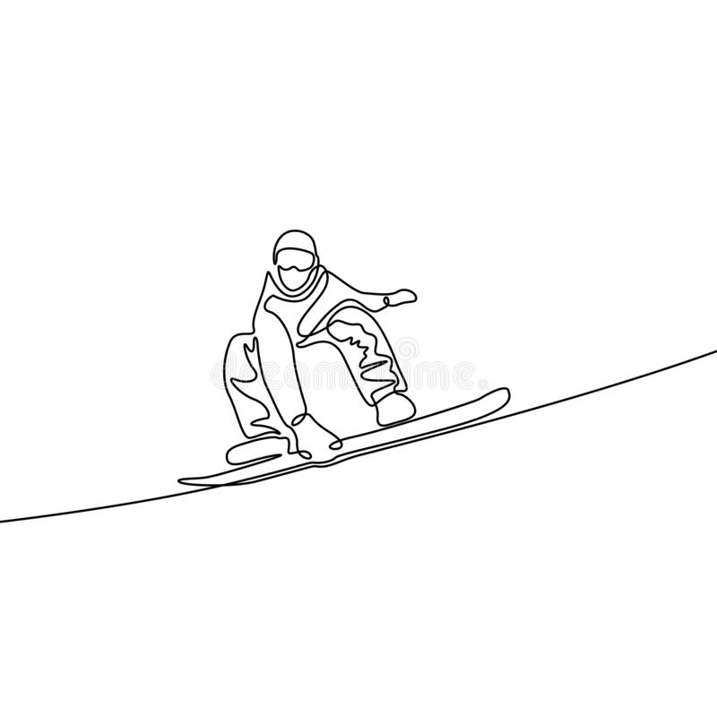 Continuous one line drawing snowboarder. Vector illustration stock illustration