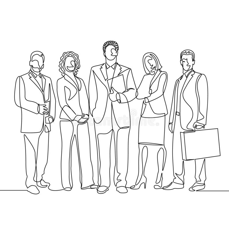 Continuous one line drawing team office workers vector illustration