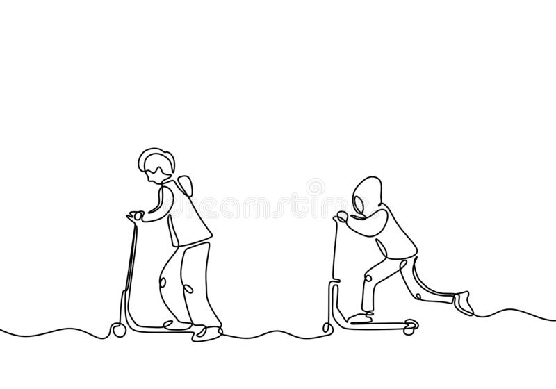 Continuous one line drawing of two kids playing scooter. Friendship and childhood theme of children act of kindness royalty free illustration