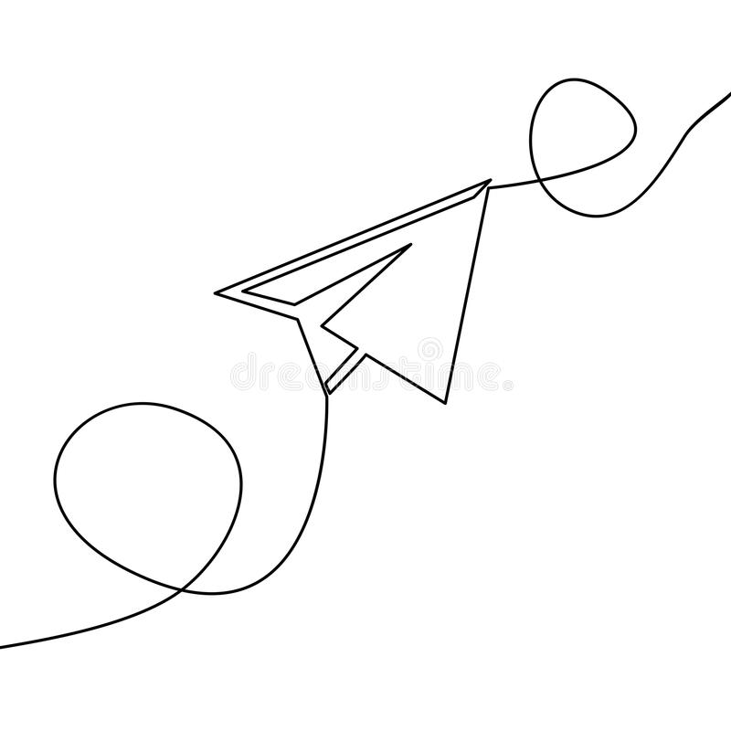 Continuous one line drawing vector paper airplane royalty free illustration