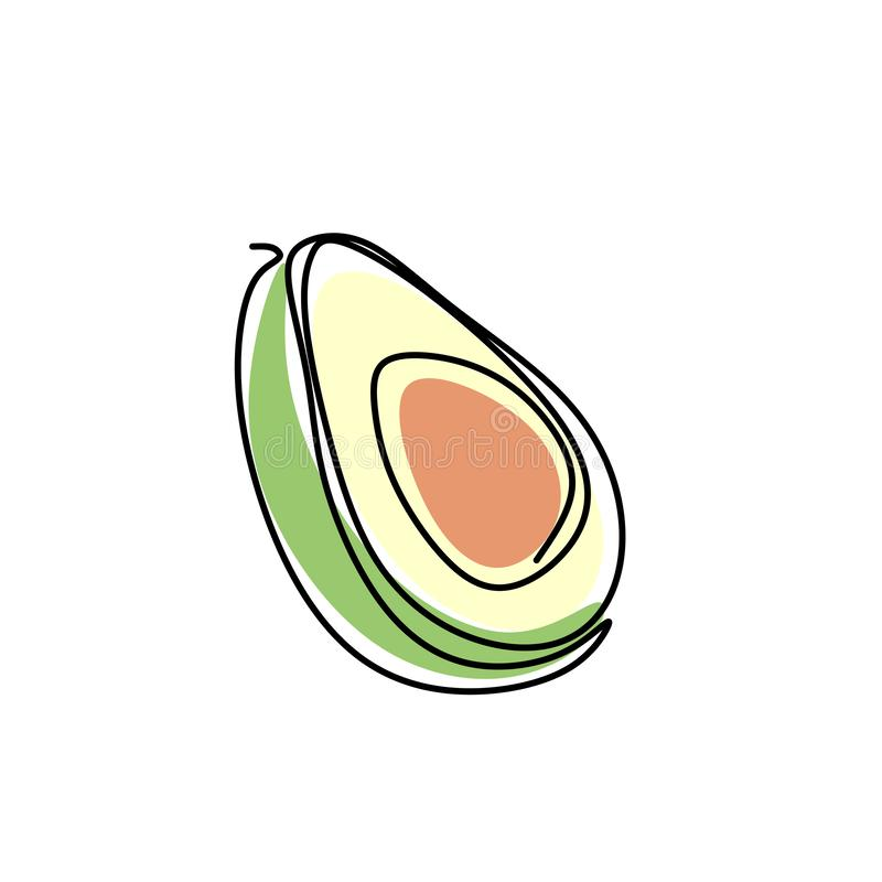 Continuous one line drawing. Vegetables two avocado. Vector illustration. Food, vegetarian, natural, fresh, fruit, healthy, icon, organic, vegan, isolated stock illustration