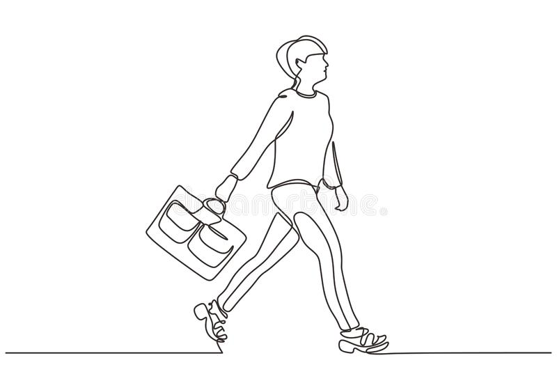 Continuous one line drawing of woman walking on the street. Beauty and fashionable girl holding suitcase royalty free illustration