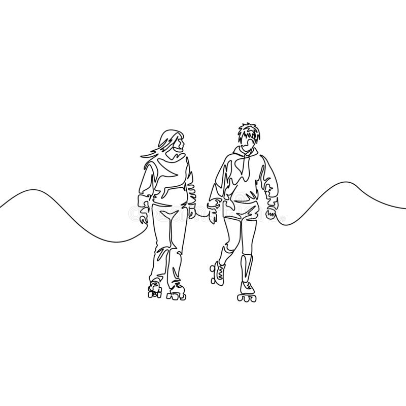Continuous one line friends rollerblading. Two girlfriends rollerblading. Sport, recreation, friendship, relax, hobby stock image
