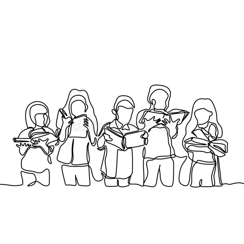 Continuous one line group of children enjoy reading book. Kids, boy, design, happy, story, outline, drawing, girl, silhouette, sketch, art, graphic, education vector illustration