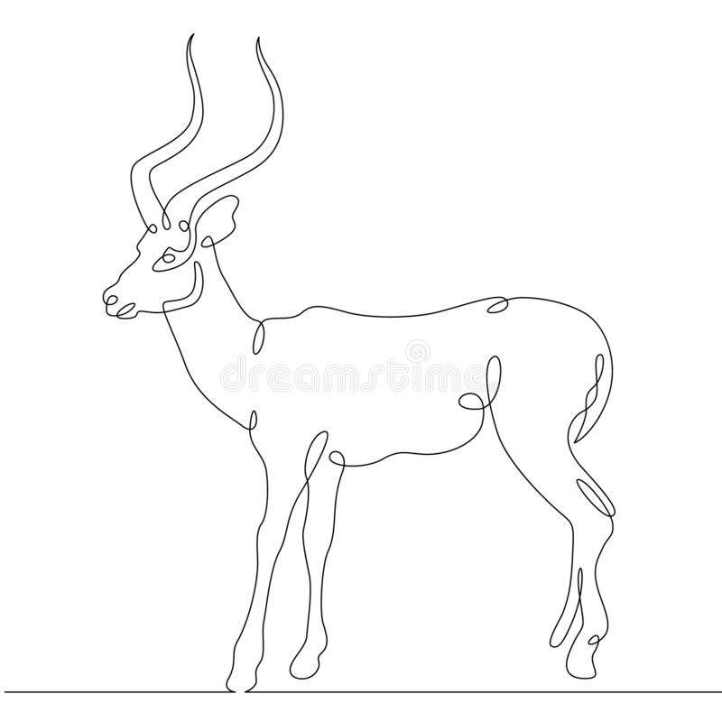 Continuous one line hand drawing gazelle royalty free illustration