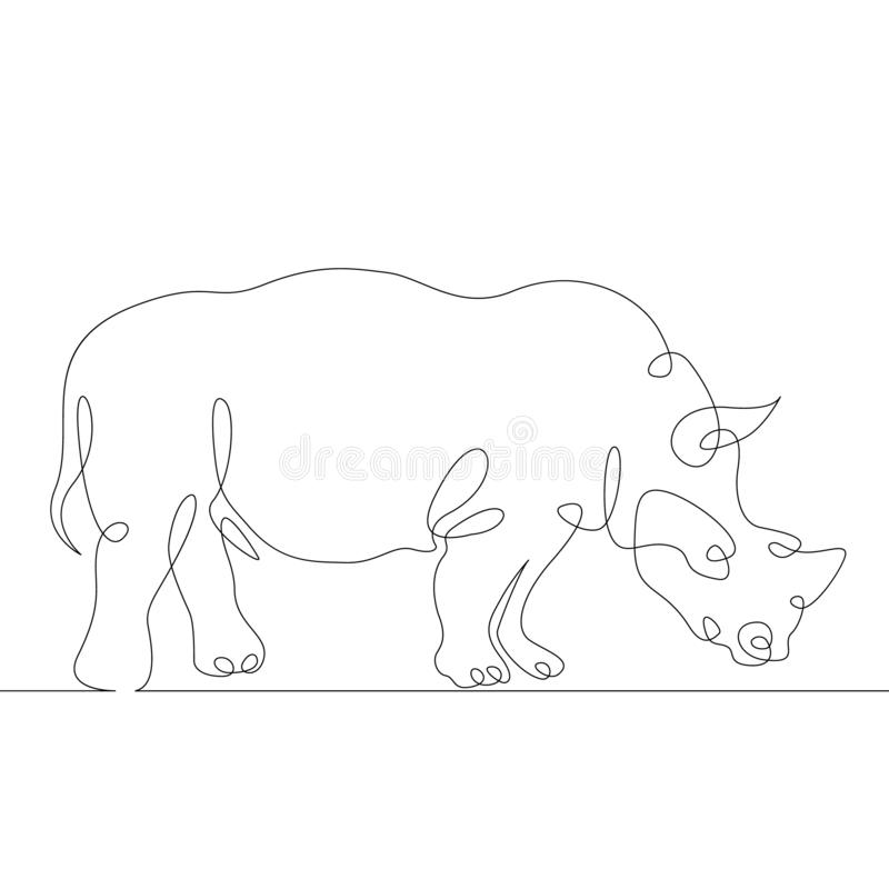 Rhinoceros  Africa, Continuous Line  Stock Vector
