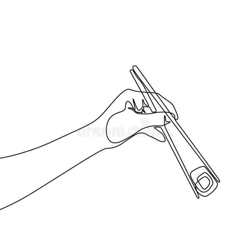 Continuous one line hand holding chopstick to eat roll Sushi royalty free illustration