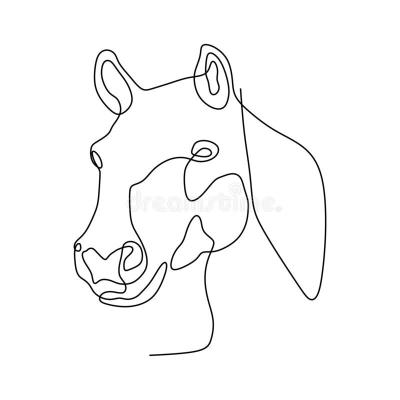Continuous one line horse head minimalist design vector illustration minimalism style. One line of horse's head vector, isolated, symbol, outline, tattoo royalty free stock photos