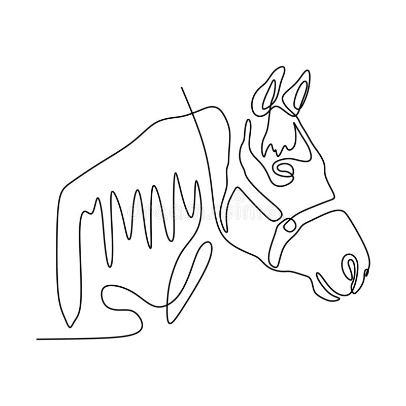 Continuous one line horse head minimalist design vector illustration minimalism style. One continuous line of horse's head vector, magic, fun, isolated royalty free stock images