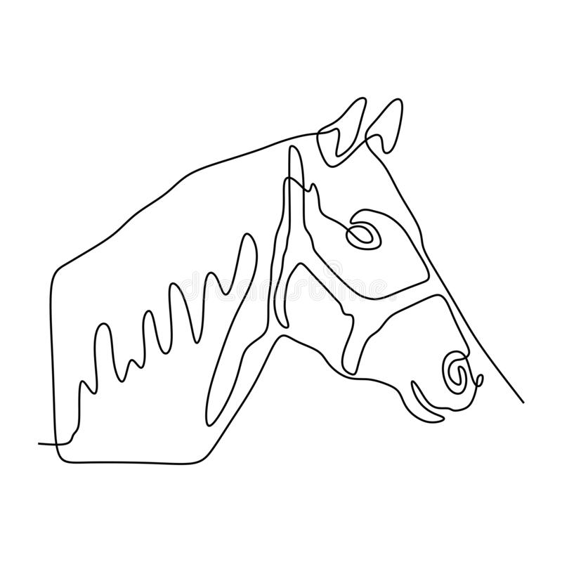 Continuous one line horse head minimalist design vector illustration minimalism style. One continuous line of horse's head vector, magic, fun, isolated stock photography